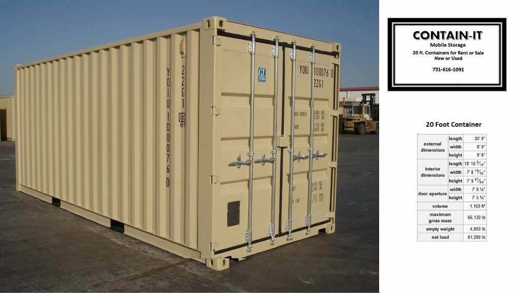 20ft-one-trip-single-use-container & Contain-It Mobile Storage - Rental Containers Jackson TN